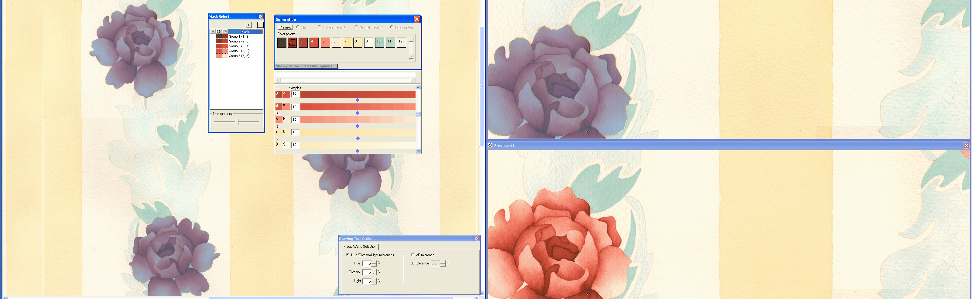 screen shot showing tonal separation methods being used on purple and pink rose design