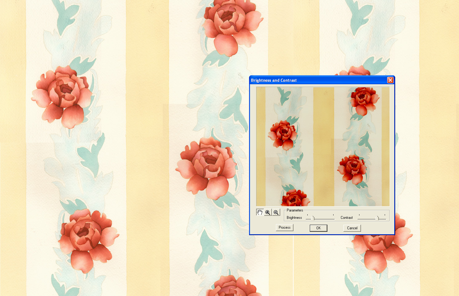 screen shot showing advanced filters being applied to scan rose design file