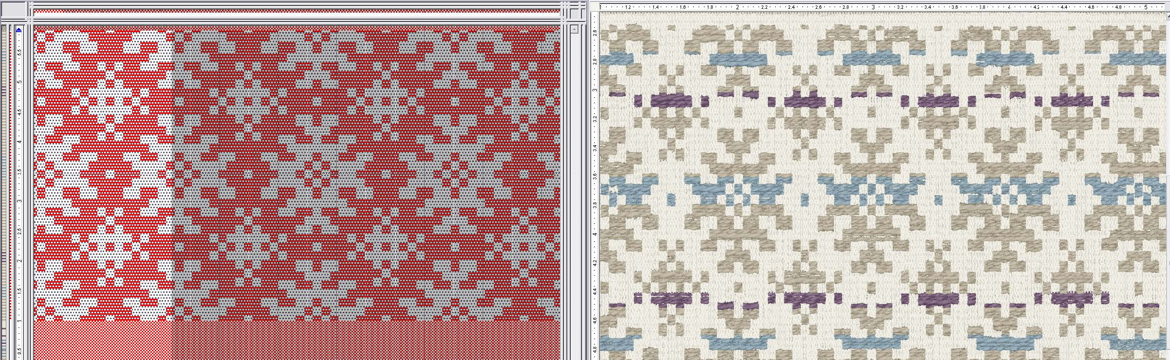 two patterns side by side showing weave and virtual samples at the same time