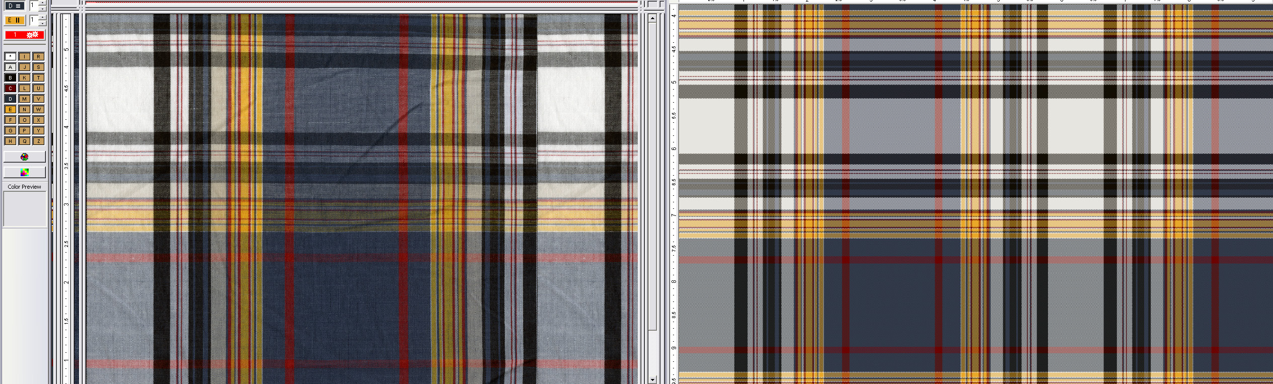 screen shot of two plaid patterns side by side showing how software analyzes fabric scans to create quick reproductions