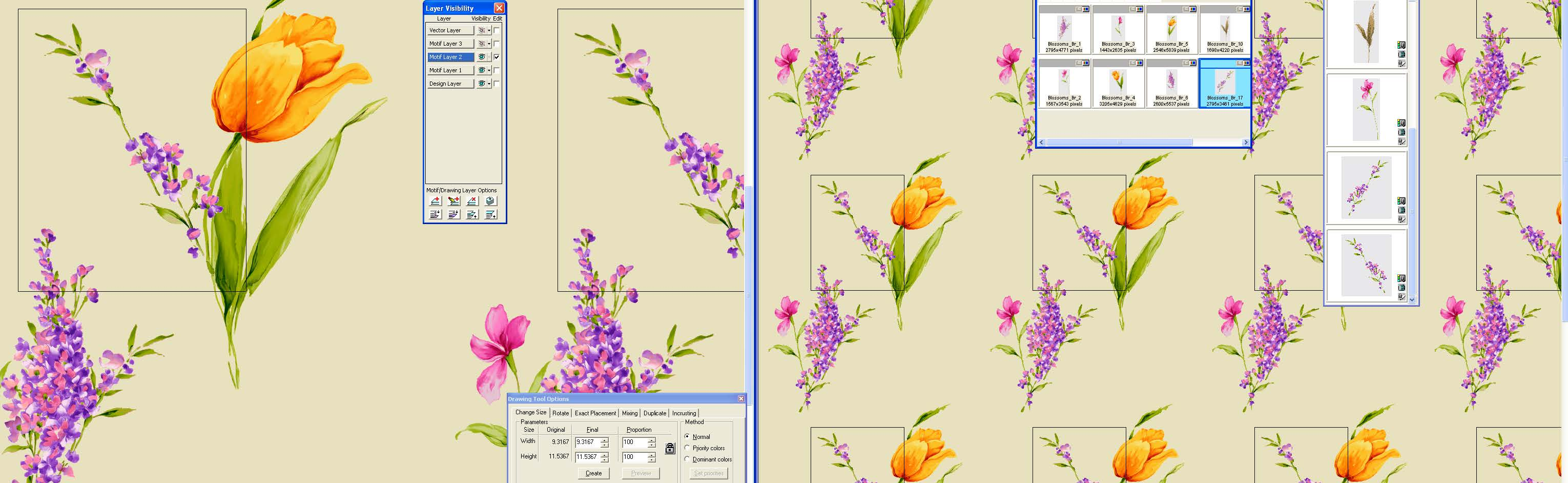screen shot of a dual/split screen designing on layers with various object libraries