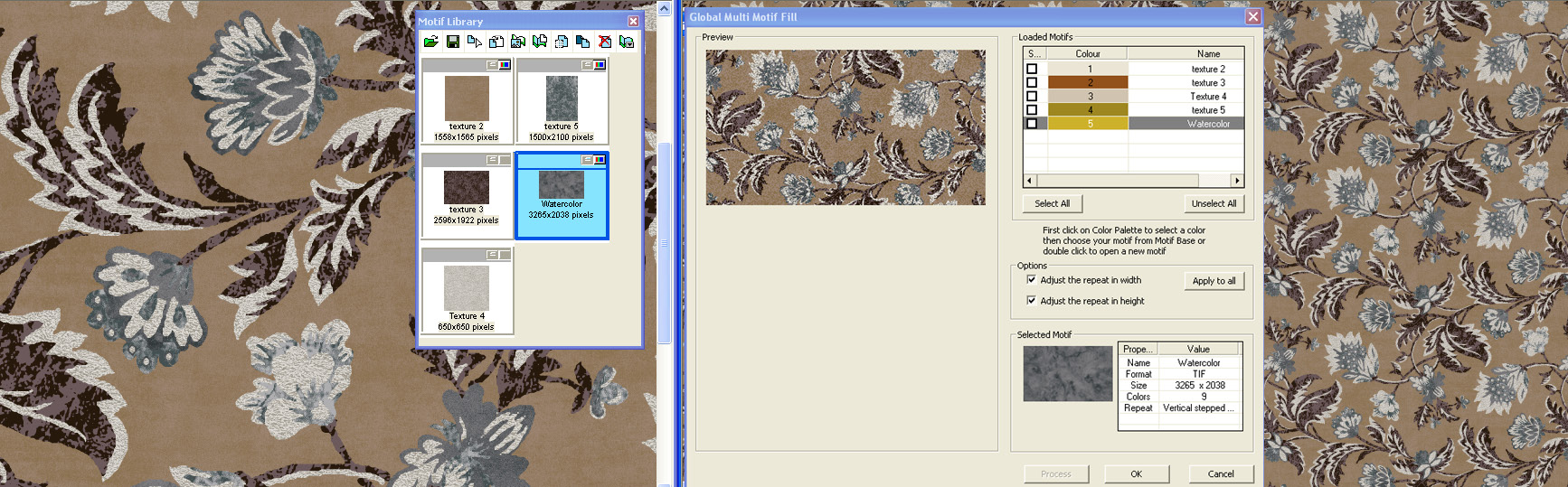screen shot showing how to create designs with tones and textures on a brown and white floral design