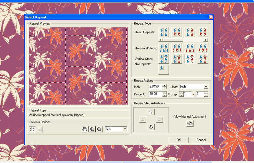 screen shot showing how to use automatic repeat and mirror tools on a pink and orange floral design