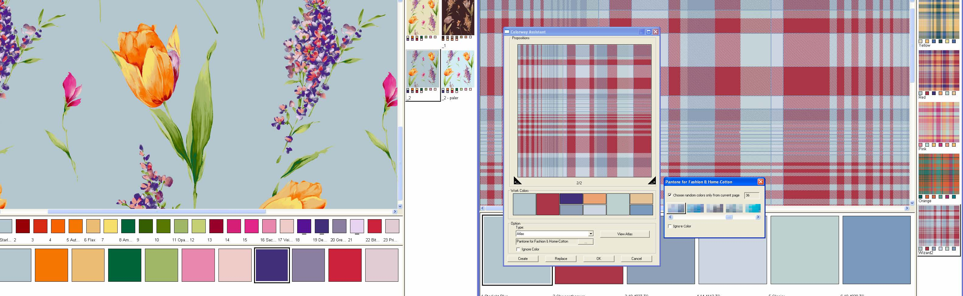 screen shot showing how to recolor prints knits and weaves at the same time with automatic color rotation view
