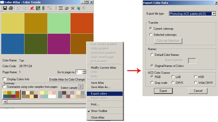 screen shot showing how to import and export color palettes with Adobe® applications including Pantone®