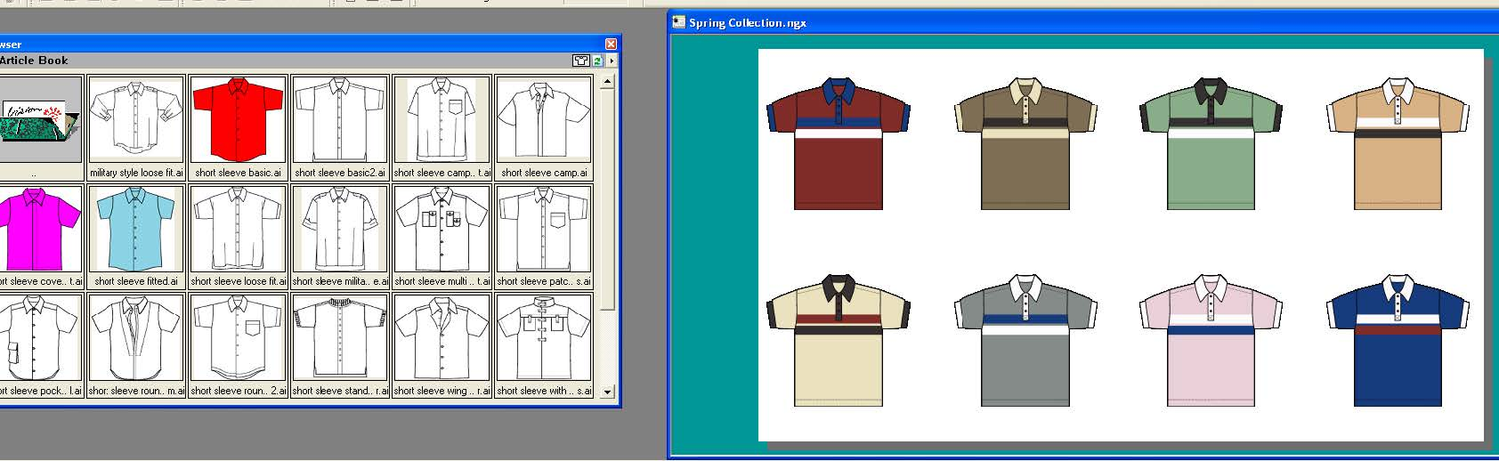 two screen shots side by side showing how to design apparel and access garment sketch library in Adobe Illustrator