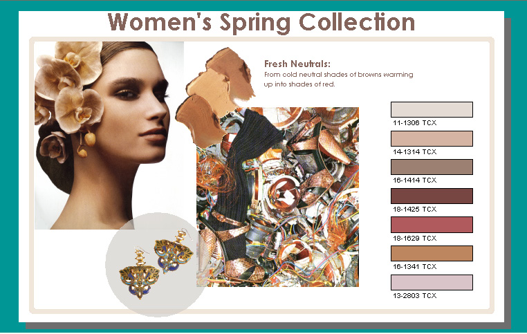 seasonal trend presentation board of a womens spring collection for makeup jewelry and accessories