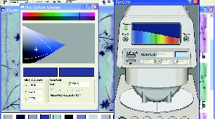 screenshot of spectrophotometer and interactive printer color gamut display