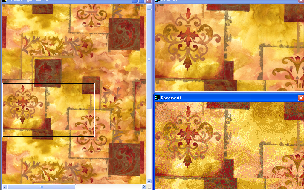 screen shot demonstrating how to reduce and recolor a golden and red embellished design