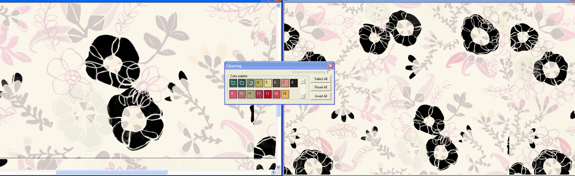 screen shot demonstrating how a black and white film view assists with color position controls