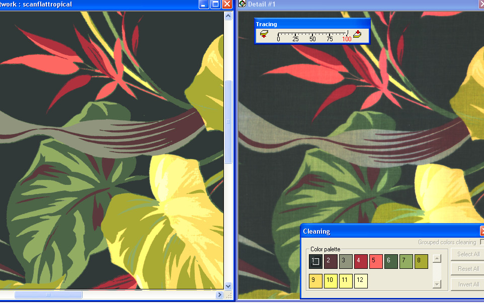 screen shot showing how to compare a color reduced file with a scan on a separate layer
