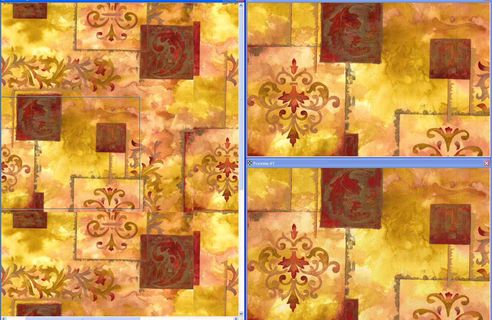screen shot demonstrating how automatic mode reduces a golden and red embellished design