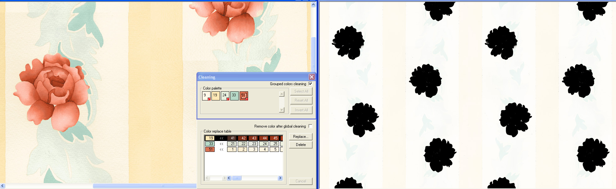 screen shot demonstrating how a black and white film view assists with color position controls on a rose design