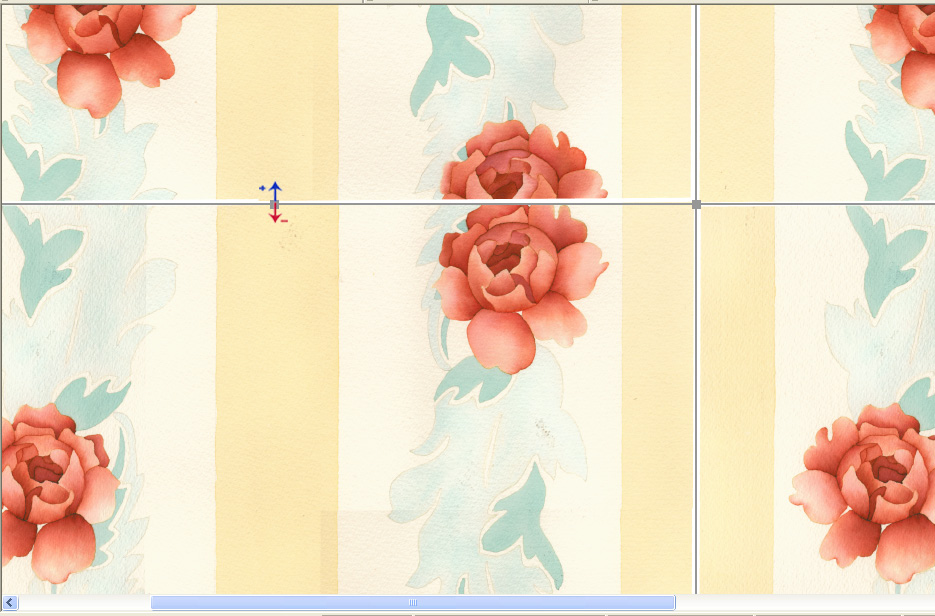 screen shot showing how to visually adjust the repeat boundaries on a rose design