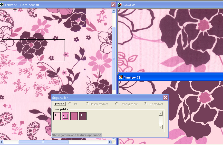 screen shot showing how to preview color separation in different colors on a pink and purple floral design