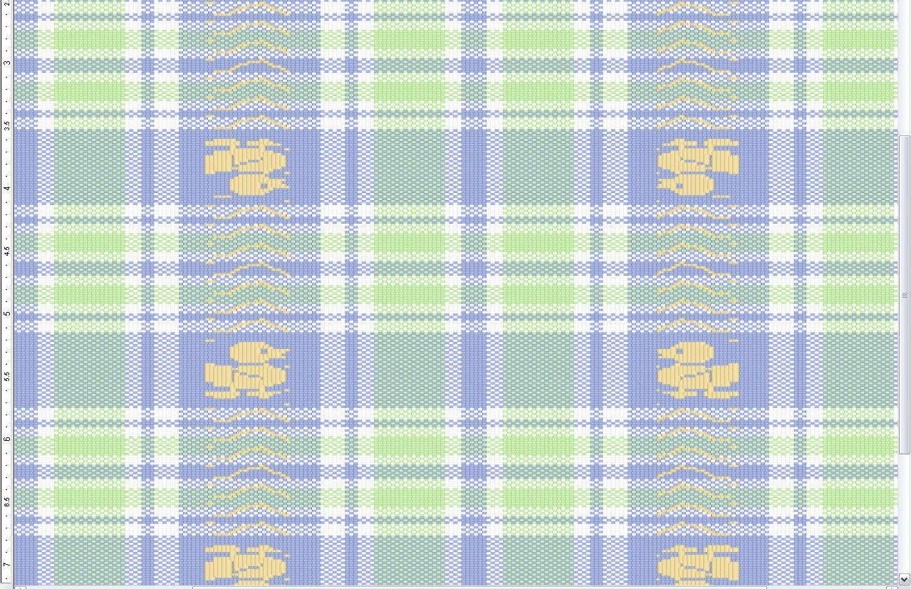 green and blue duck pattern showing advanced top beam dobby weave effects