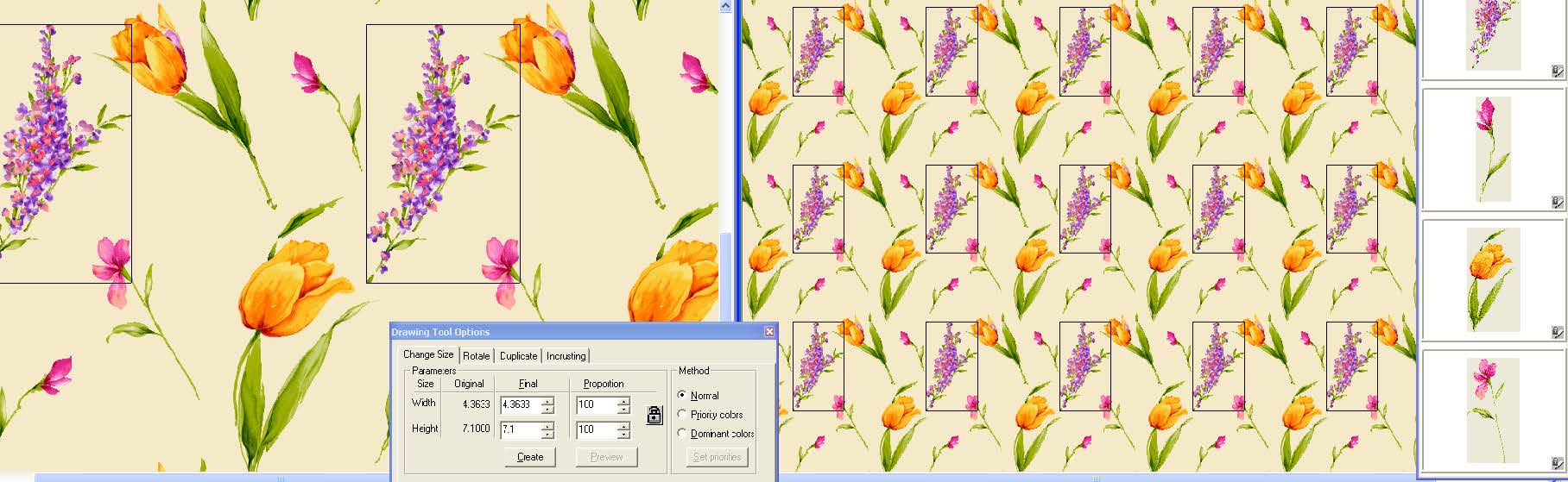 screen shot showing a dual/split screen designing on layers with motif library