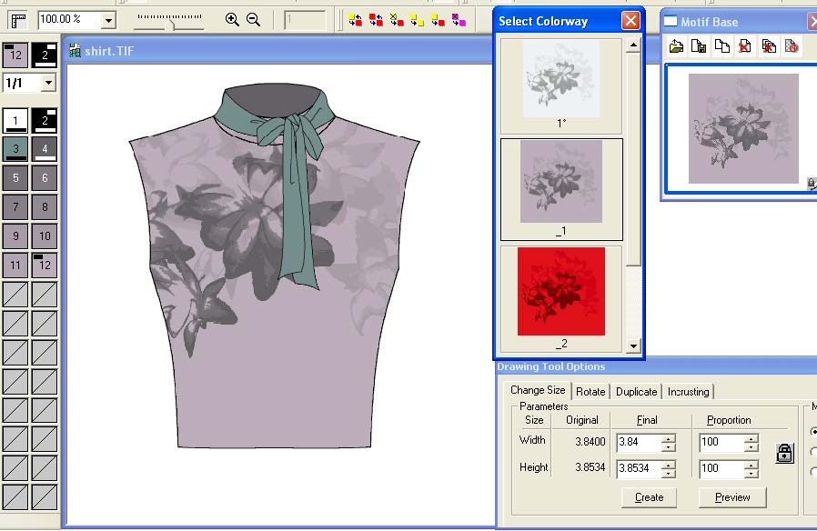 screen shot demonstrating how to design apparel by applying designs to sketches