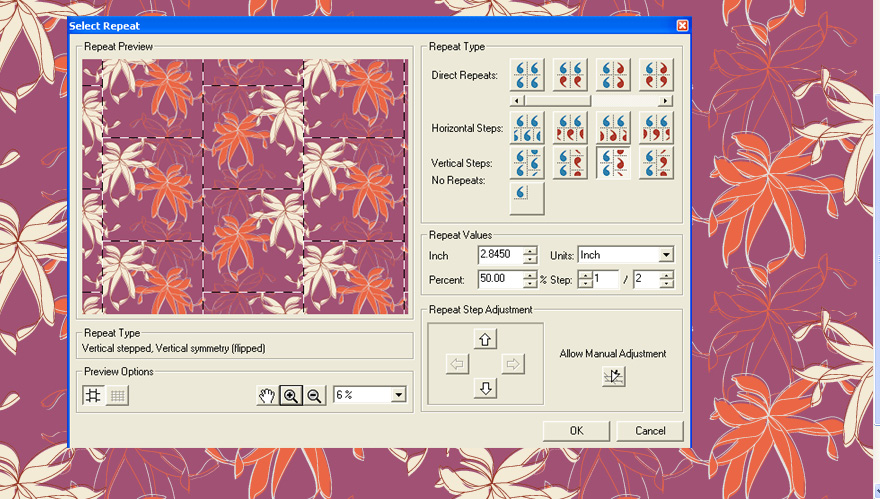 Screenshot of example of Design and Repeat Pro