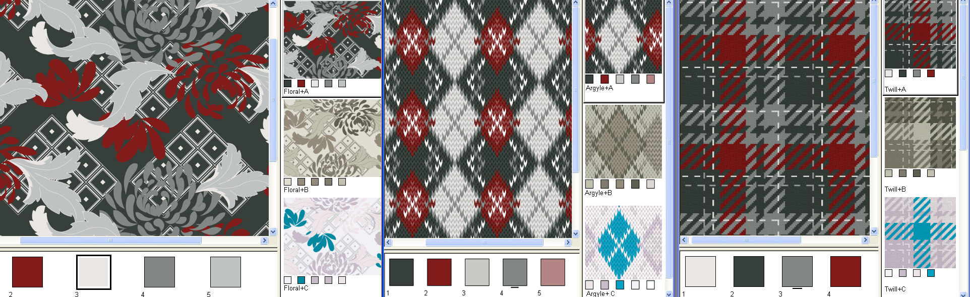 screen shot demonstrating how to view and recolor prints knits and woven designs at the same time