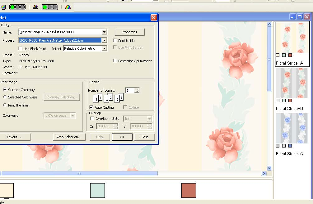 screen shot showing how to apply calibration profiles for the screen and printer