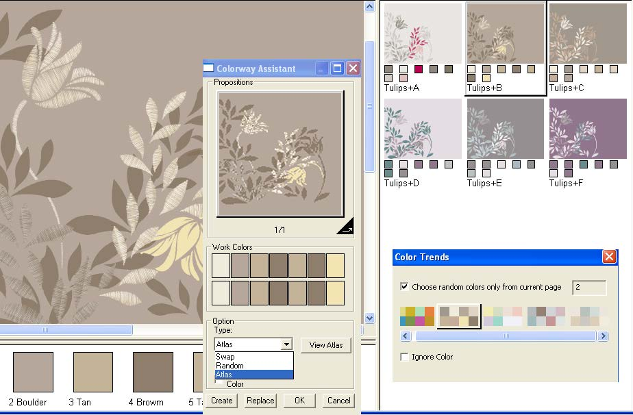 screen shot showing the coloring assistant scrolling thru seasonal colors