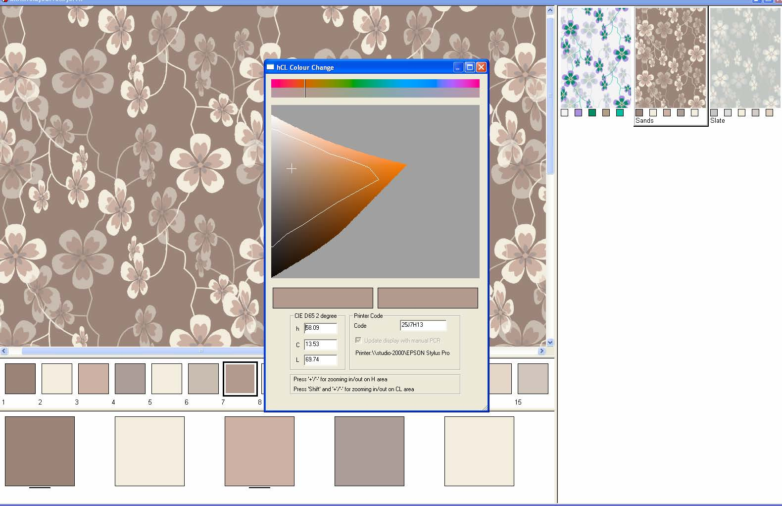 screen shot showing an example of a fully calibrated real-time color gamut indication