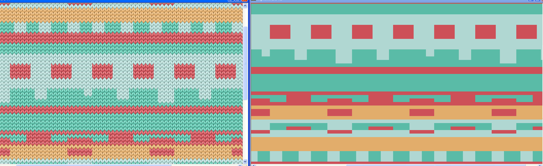 side by side view of a stitch simulation and the design view