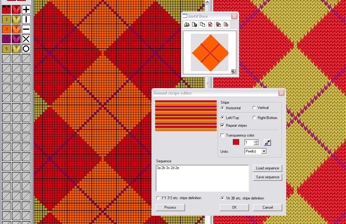 screen shot of manual stripe editor being used for advanced editing tools on knit pattern