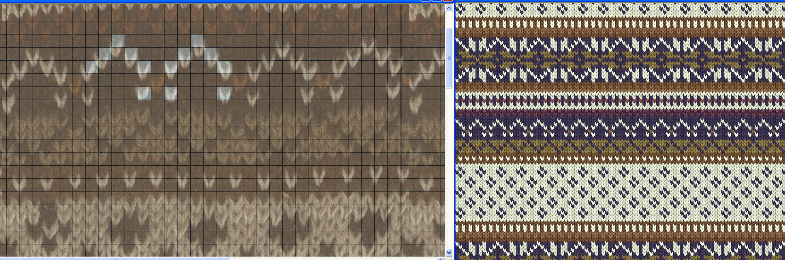 two knit fabric scans side by side showing virtual sample reproduction