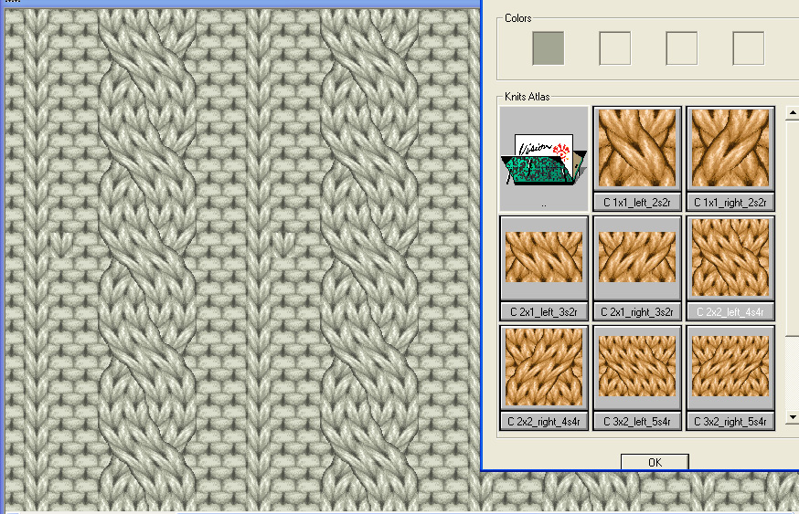 screen shot of stitch effect library being used on knit pattern