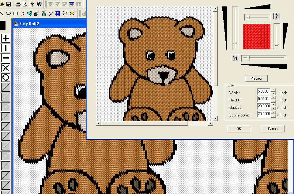 screen shot of easy knit tool being used to convert teddy bear design into knit fabrication