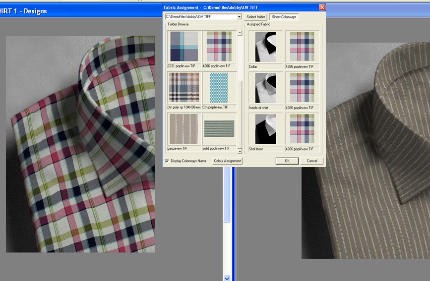 screen shot of two different mens shirts showing how to apply designs to create products