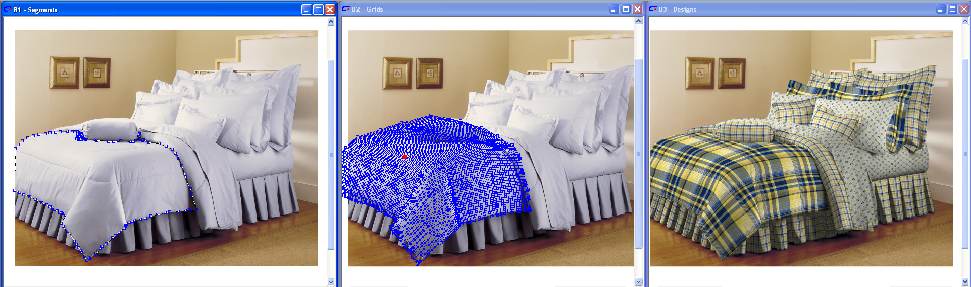 three screen shots of beds showing how easy map pro tools make the draping of the comforters look real