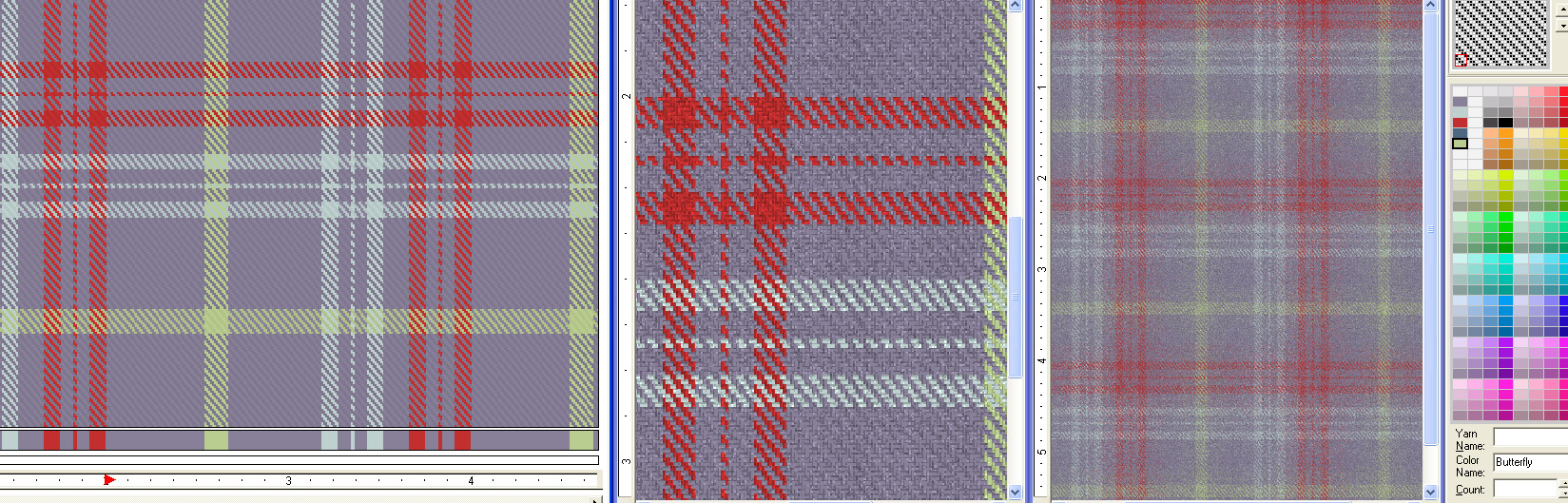 screen shot of plaid patterns showing how to apply yarn shading and texture effects for virtual woven samples