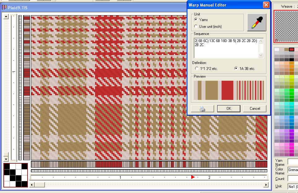 screen shot of a plaid pattern showing how to use advanced stripe editor for warp and filling