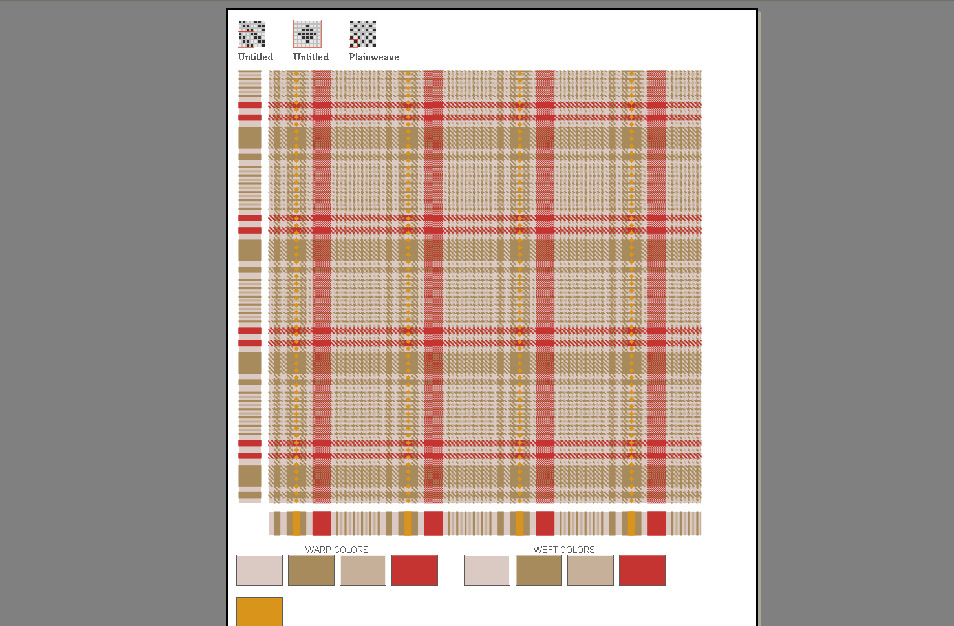layout of plaid pattern showing how to print or export layouts with fringes or color chips