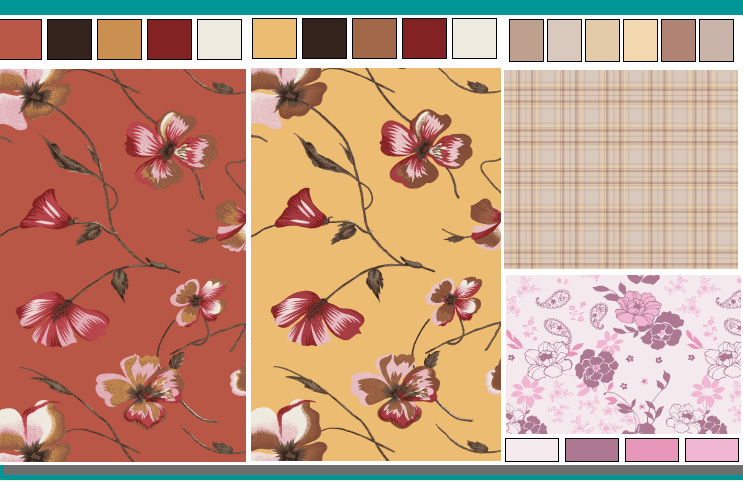 layout of multiple floral design patterns to maximize large format paper usage