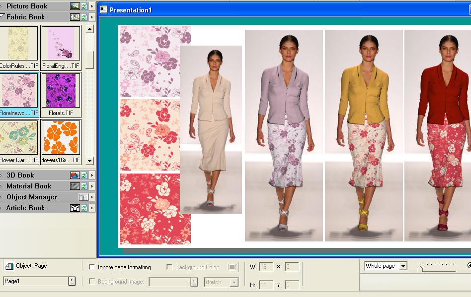 screen shot of a program dragging and dropping floral designs on photographs of womens clothing